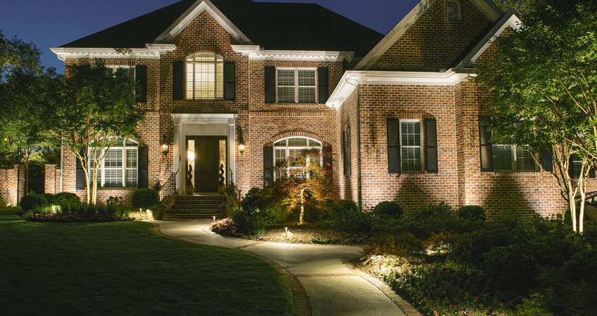 Meticulous, professional outdoor lighting installation.